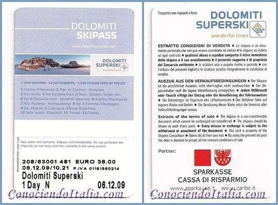 esquí pass de 1 día en las Dolomitas