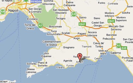 Mapa de la Costiera Amalfitana