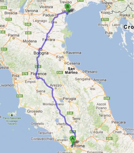 Como ir de Roma a Venecia