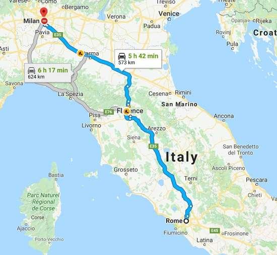 Como ir de Roma a Milán