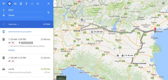 Opciones para viajar entre Milan y Venecia