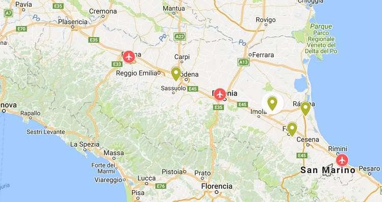 Aeropuertos De Italia Mapa.Aeropuertos De La Region Emilia Romana Conociendo Italia