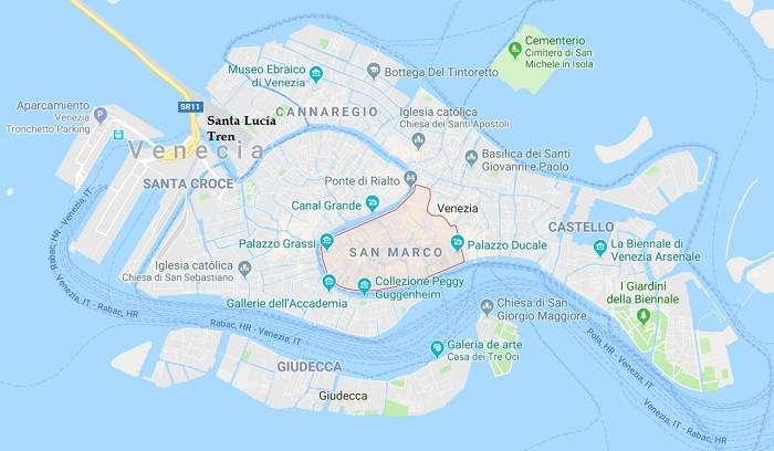 Mapa de Venecia para encontrar alojamiento