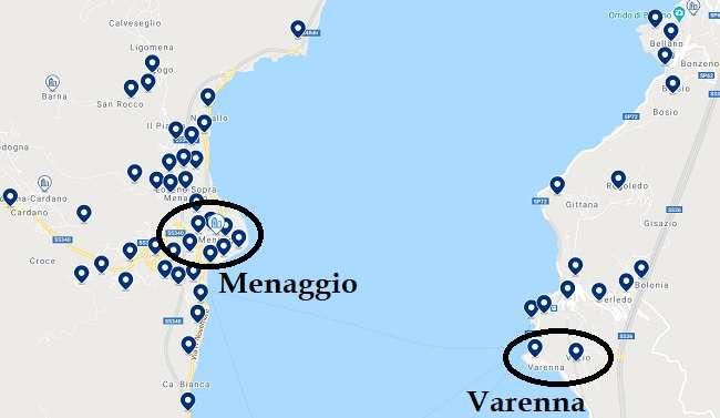 mapa ubicacion hoteles en Menaggio