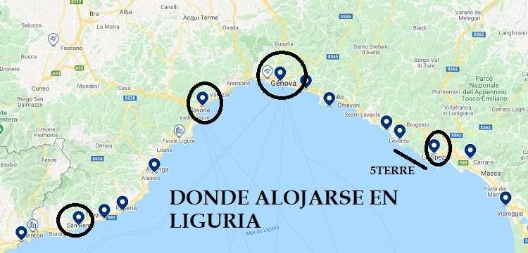 Mapa donde alojarse en Liguria