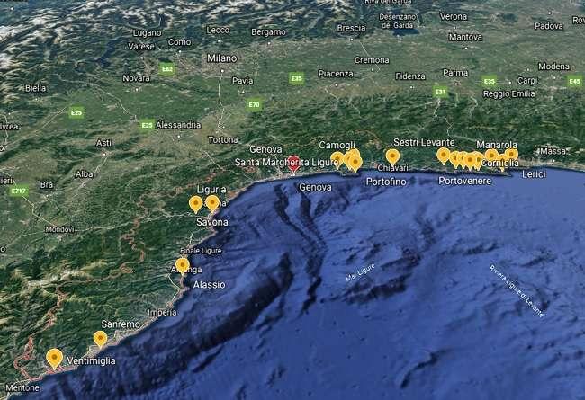 mapa de Liguria - pueblos